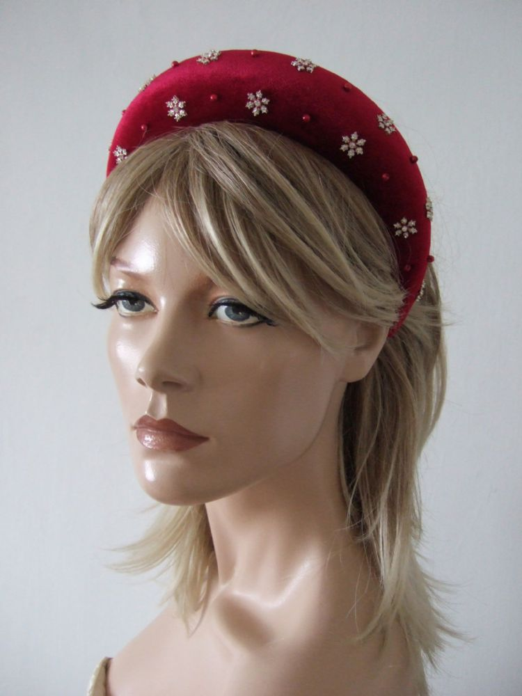 Cranberry Red Velvet Thick Padded Wide Snowflake Crystal Embellished Headband - Winter Wedding Guest